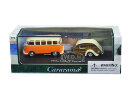 Volkswagen Bus Samba Orange with Caravan III Trailer in Display Showcase 1/72 Diecast Car Model Cararama 12818