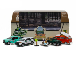 Motor World Multi-Car Diorama Set Campsite Cruisers United States Forest Service (USFS) Edition 4pcs Cars and 3 Figures 1/64 Diecast Models Greenlight 58031