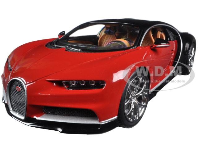 2016 Bugatti Chiron Red with Black 1/18 Diecast Model Car Bburago 11040
