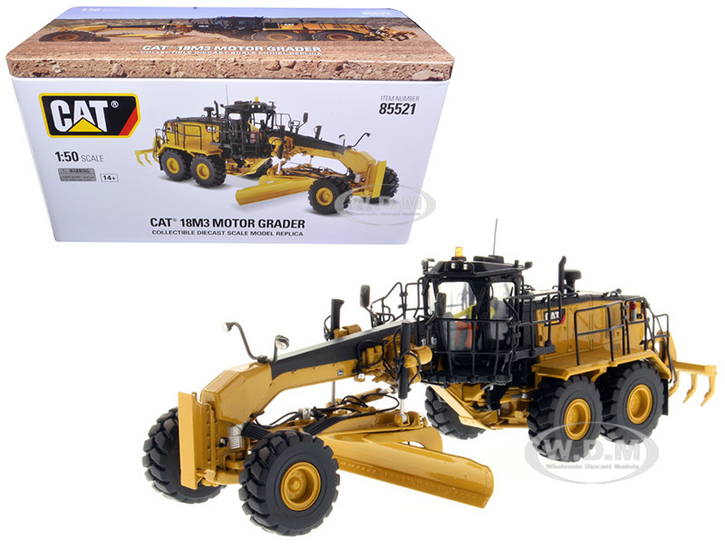 CAT Caterpillar 18M3 Motor Grader with Operator High Line Series 1/50 Diecast Model Diecast Masters 85521