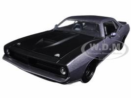 1973 Plymouth Barracuda Grey with Matt Black 1/24 Diecast Model Car Jada 98235