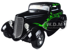 1934 Ford Coupe Street Rod Black with Lime Green 1/25 Diecast Model Car First Gear 40-0382