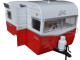 Shasta Airflyte 15' Camper Trailer Red for 1/24 Scale Model Cars and Trucks 1/24 Diecast Model Greenlight 18225