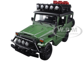 "Toyota FJ40 Land Cruiser Matt Green ""4x4 Overlanders"" Series 1/24 Diecast Model Car Motormax 79137"