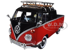 Volkswagen Type 2 (T1) Delivery Pickup Truck Red/Black 1/24 Diecast Model Car Motormax 79552
