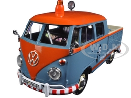 "Volkswagen Type 2 (T1) Delivery Pickup Truck Blue/Orange ""Kundendienst"" 1/24 Diecast Model Car Motormax 79555"