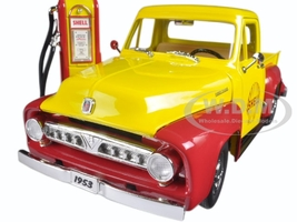 1953 Ford F-100 Shell Oil with Vintage Gas Pump Pickup Truck 1/18 Diecast Model Car Greenlight 12983