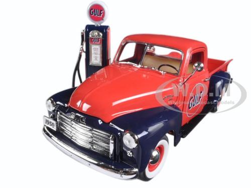 1950 GMC 150 Gulf Oil with Vintage Gas Pump Pickup Truck 1/18 Diecast Model Car Greenlight 12984