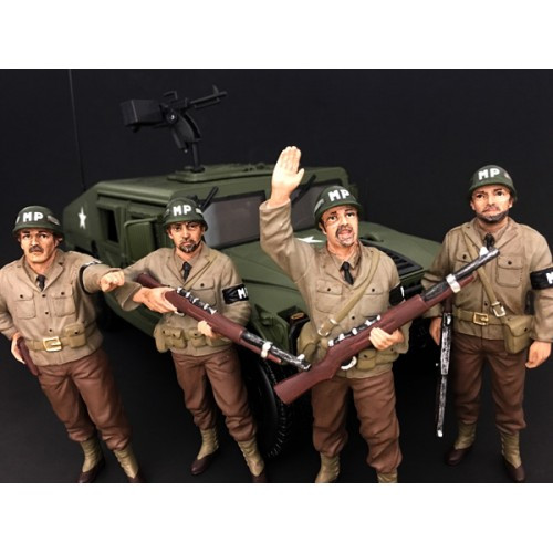 WWII Military Police 4 Piece Figure Set For 1:18 Scale Models American Diorama 77414,77415,77416,77417