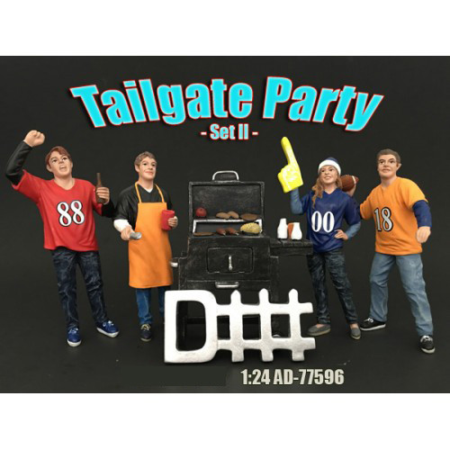 Tailgate Party Set II 4 Piece Figure Set For 1:24 Scale Models American Diorama 77596