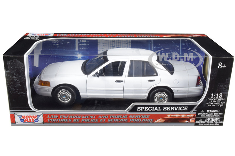 Ford Crown Victoria Undercover Special Service Police Car White 1/18 Diecast Model Car Motormax 73527