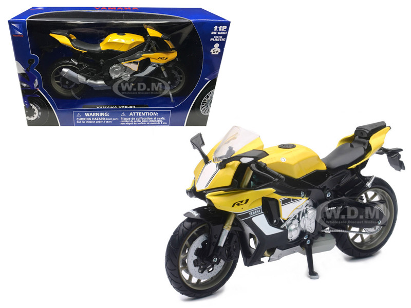 2016 Yamaha YZF-R1 Yellow Motorcycle Model 1/12 New Ray 57803 B