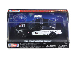 2011 Dodge Charger Pursuit Police Car In Display Showcase 1/43 Diecast Model Car Motormax 79463