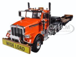 Peterbilt 367 Tri Axle Lowboy Trailer Orange and Black 1/50 Diecast Model First Gear 50-3356