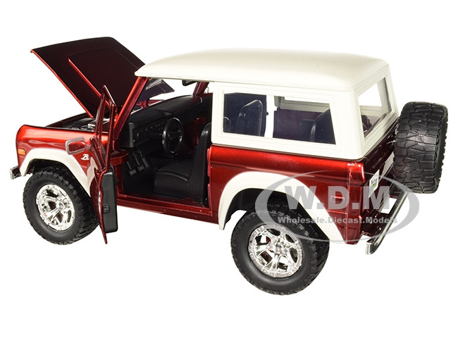 1973 Ford Bronco SUV Truck Die-cast Car 1:24 Jada Toys 7 inch RED and Cream