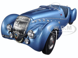 1937 Peugeot 302 Darl Mat Roadster Blue Metallic 1/18 Diecast Model Car Norev 184821