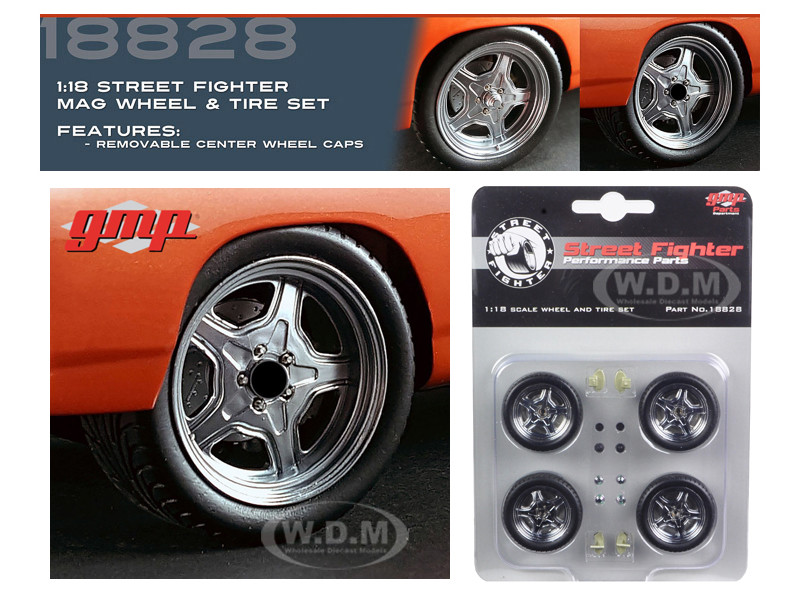 """Wheel and Tire Set of 4 from 1970 Plymouth Road Runner """"The Hammer"""" Furious 7 Movie 1/18 GMP 18828"""