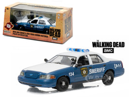 "Rick and Shane's 2001 Ford Crown Victoria Police Interceptor ""The Walking Dead"" (2010-Current) TV Series 1/43 Diecast Model Car Greenlight 86504"