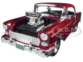 1955 Chevrolet Bel Air Burgundy With Blower Timeless Classics 1/18 Diecast Model Car Motormax 79002 bur
