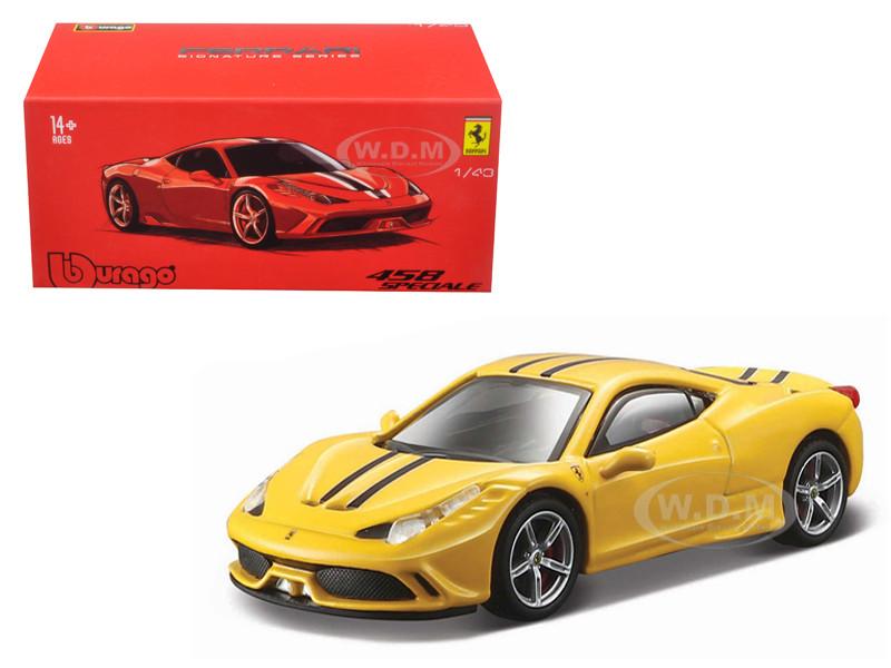 Ferrari 458 Speciale Yellow Signature Series 1/43 Diecast Model Car Bburago 36901