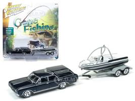 "1964 Oldsmobile Vista Cruiser Midnight Mist Blue with Boat and Trailer ""Gone Fishing"" 1/64 Diecast Model Car Johnny Lightning JLBT001"