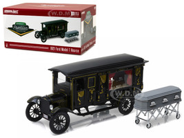 1921 Ford Model T Ornate Carved Hearse Black Precision Collection Limited Edition 1/18 Diecast Model Car Greenlight 18013