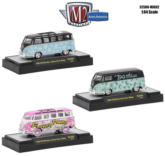 Auto Thentics 3 Cars Set Volkswagen Series WITH CASES 1/64 Diecast Model Cars M2 Machines 32500-MJS02