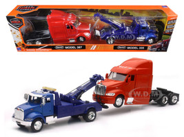 Peterbilt Model 335 Tow Truck Blue and Peterbilt Model 387 Cab Red 1/43 New Ray SS-15053