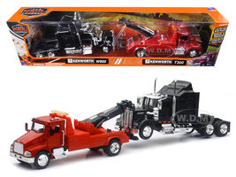 Kenworth T300 Tow Truck Red and Kenworth W900 Cab Black 1/43 New Ray SS-15063