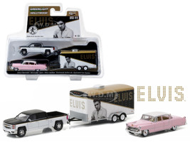 "2015 Chevrolet Silverado 1500 and 1955 Cadillac Fleetwood Series 60 ""Pink Cadillac"" Elvis Presley (1935-77) in Enclosed Car Hauler 1/64 Diecast Model Cars Greenlight 31020"