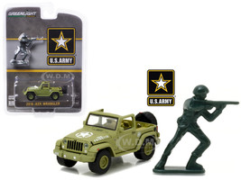 2016 Jeep Wrangler U.S. Army with U.S. Army Soldier Figure 1/64 Diecast Model Car Greenlight 29884