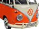 Volkswagen Type 2 (T1) Double Cab Pickup Truck Orange/Cream 1/24 Diecast Model Car Motormax 79343
