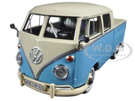 Volkswagen Type 2 (T1) Double Cab Pickup Truck Blue/Cream 1/24 Diecast Model Car Motormax 79343