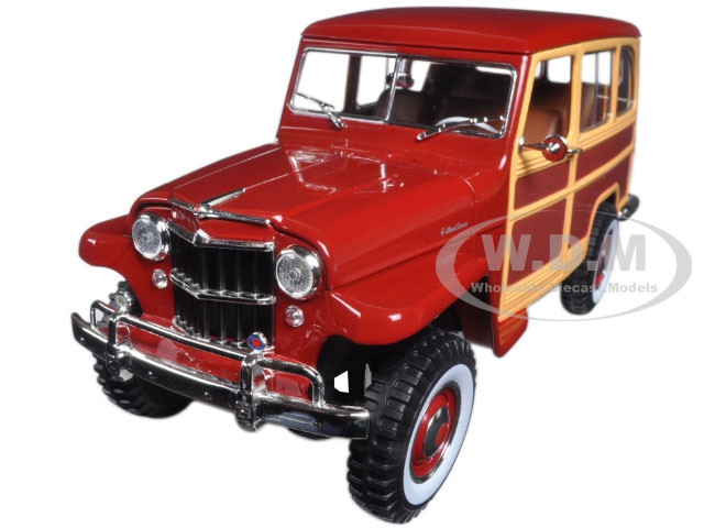 1955 Willys Jeep Station Wagon Burgundy 1/18 Diecast Model Car Road Signature 92858