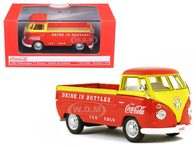 1962 Volkswagen Pickup Truck Coca Cola Orange and Yellow 1/43 Diecast Model Car Motorcity Classics 442338