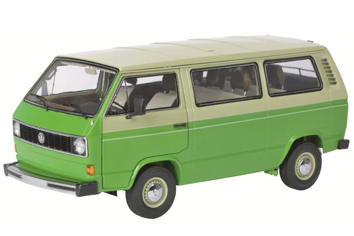 1979-1990 Volkswagen T3 Bus Green/Beige 1/18 Diecast Model Car Schuco 450038000