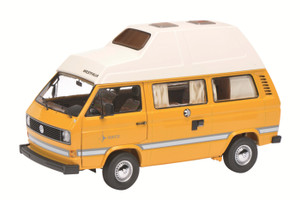 "1979-1990 Volkswagen T3 ""Joker"" Camping Bus Yellow with High Roof 1/18 Diecast Model Car Schuco 450038500"