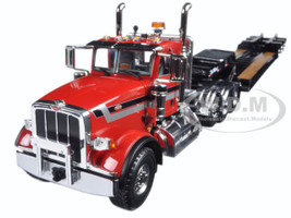Peterbilt 367 with Tri Axle Lowboy Trailer Red and Black 1/34 Diecast Model First Gear 10-4070