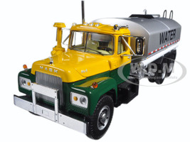Mack R Water Tank Truck Yellow, Green, and Silver 1/34 Diecast Model Car First Gear 10-4069