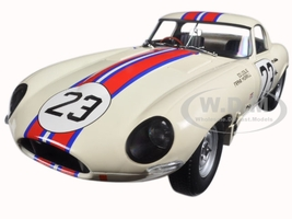 Jaguar Lightweight E-Type Qvale Sebring #23 White 1/18 Diecast Model Car Paragon 98361