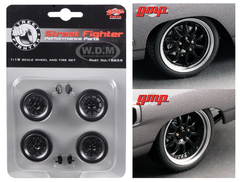 """1970 Plymouth Road Runner """"The Hummer"""" 10 Spoke Street Fighter Wheels and Tires Set of 4 1/18 GMP 18859"""