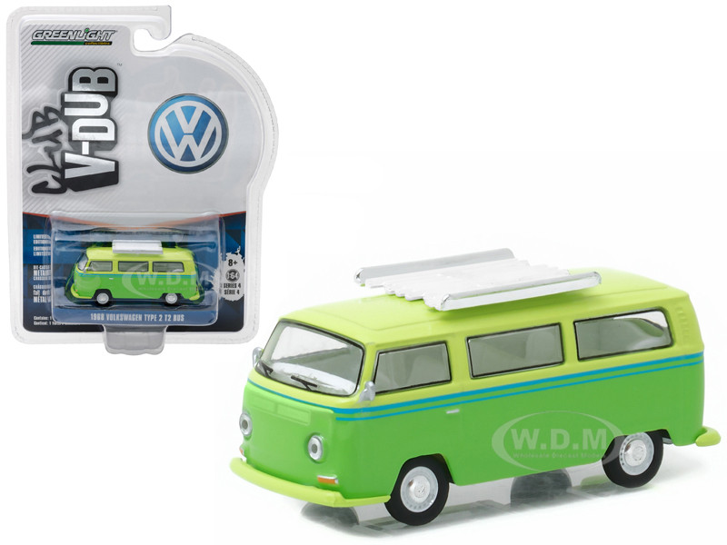 1968 Volkswagen Type 2 T2 Bus Green with Roof Rack 1/64 Diecast Model Car Greenlight 29860 E
