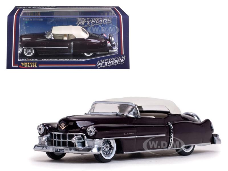 1953 Cadillac Closed Convertible Maroon 1/43 Diecast Model Car Vitesse 36266