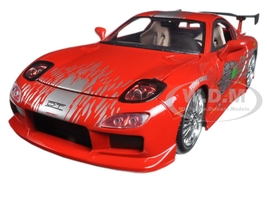 """Dom's Mazda RX-7 Red """"Fast and Furious"""" Movie 1/24 Diecast Model Car Jada 98338"""