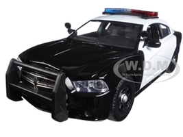 2011 Dodge Charger Pursuit Police Car Black and White with Flashing Light Bar, Front and Rear Lights and 2 Sounds 1/24 Diecast Model Car Motormax 79533