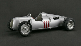 1937 Auto Union Type C Silver #111 Hill Climb Version Huns Stuck Schauins Land Limited Edition 1/18 Diecast Model Car CMC 162