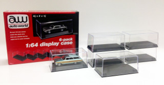 6 Display Cases for 1/64 Scale Model Cars Autoworld  AWDC008