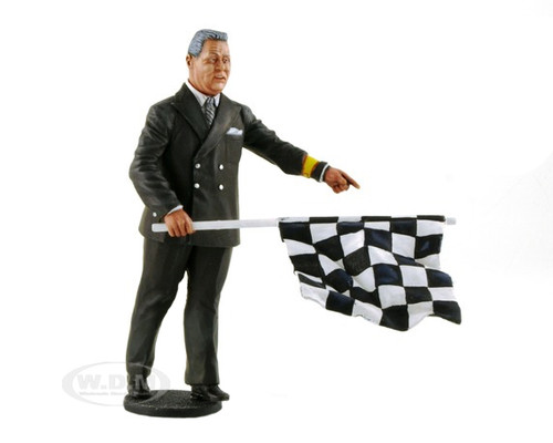 1950-1970's Director of the Course Standing with Checker Flag Figurine for 1/18 Lemans Miniatures FLM180022