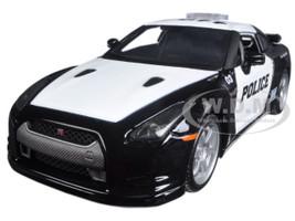 2009 Nissan GT-R (R35) Police Car Black and White 1/24 Diecast Model Car Maisto 32512
