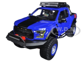 2017 Ford F-150 Raptor Pickup Truck Blue Off Road Kings 1/24 Diecast Model Car Maisto 32521